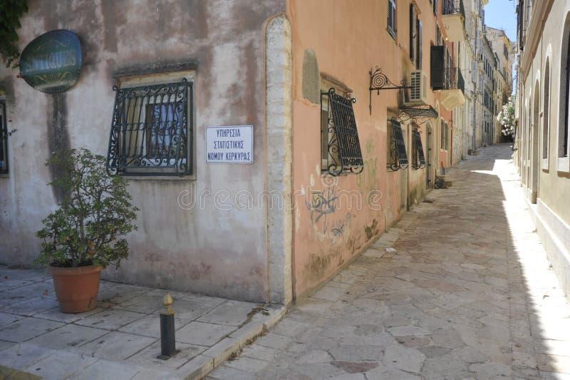 街道在科孚岛 库存照片