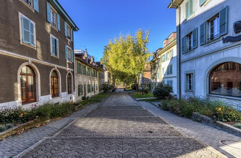 街道在老卡鲁日市,日内瓦,瑞士 免版税库存照片