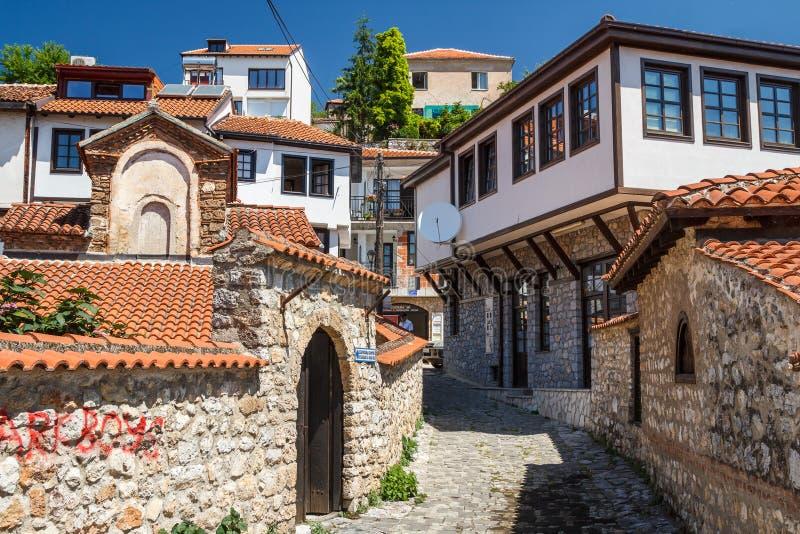 街道在老城奥赫里德 库存照片