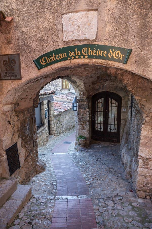 街道在老镇Eze在法国 免版税库存照片