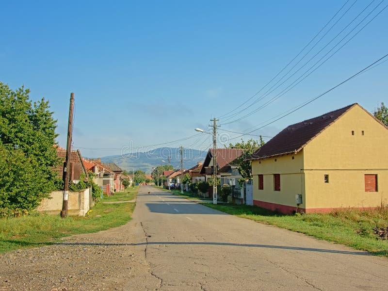 街道在老Rromanian村庄与transylvanian山的Aurel Vlaicu在背景中 库存照片