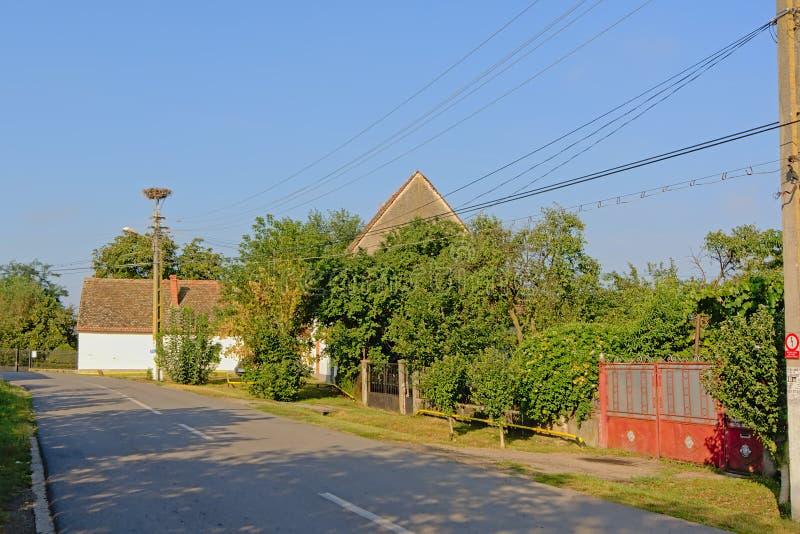 街道在老Rromanian村庄Aurel Vlaicu 库存照片