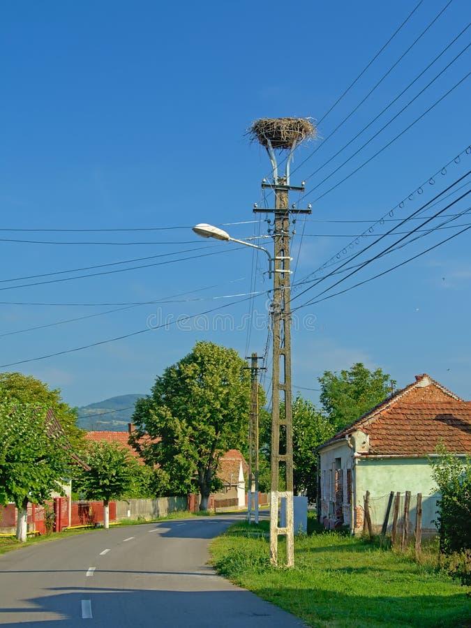 街道在老Rromanian村庄Aurel Vlaicu 免版税库存照片