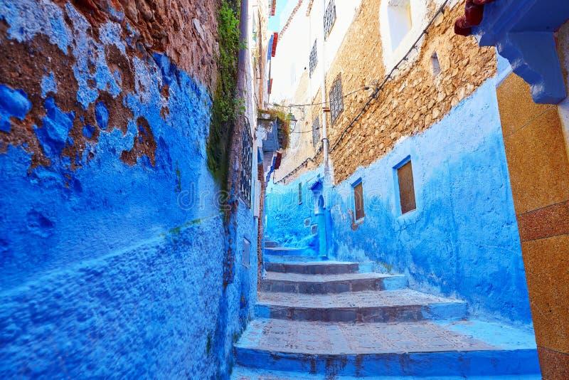 街道在舍夫沙万,摩洛哥麦地那  免版税库存图片