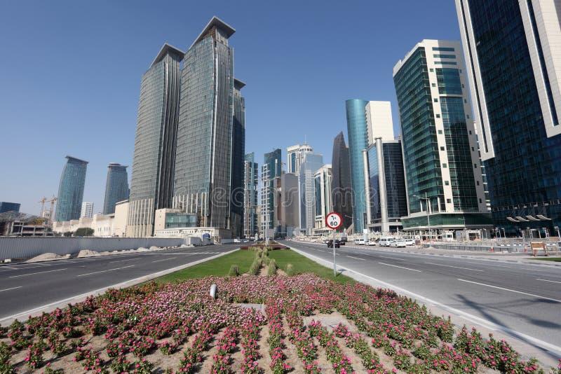 街道在街市的多哈,卡塔尔 免版税库存图片