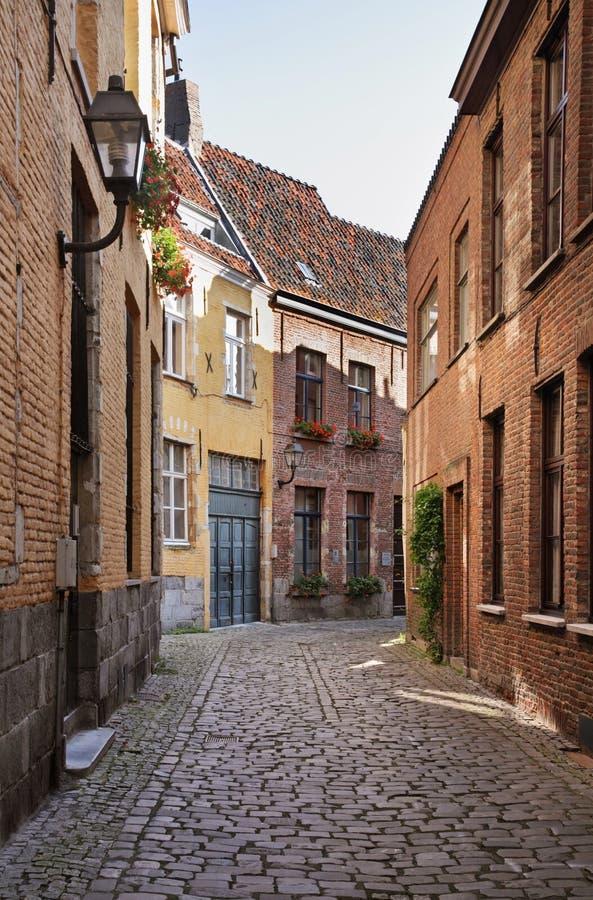 街道在跟特 富兰德 比利时 库存照片