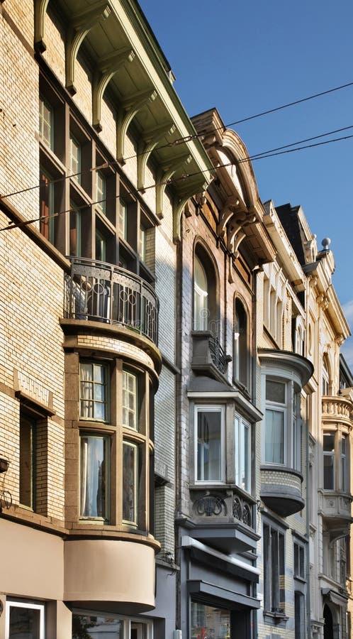 街道在跟特 富兰德 比利时 库存图片