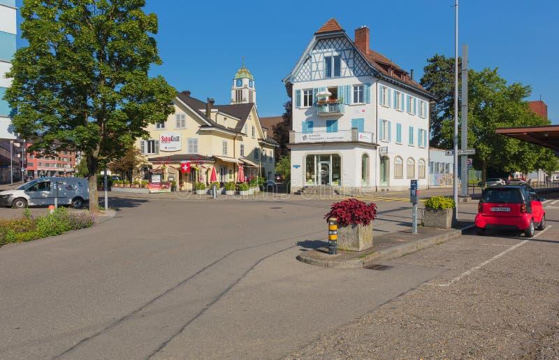 街道在迪肯孔,瑞士镇  库存照片