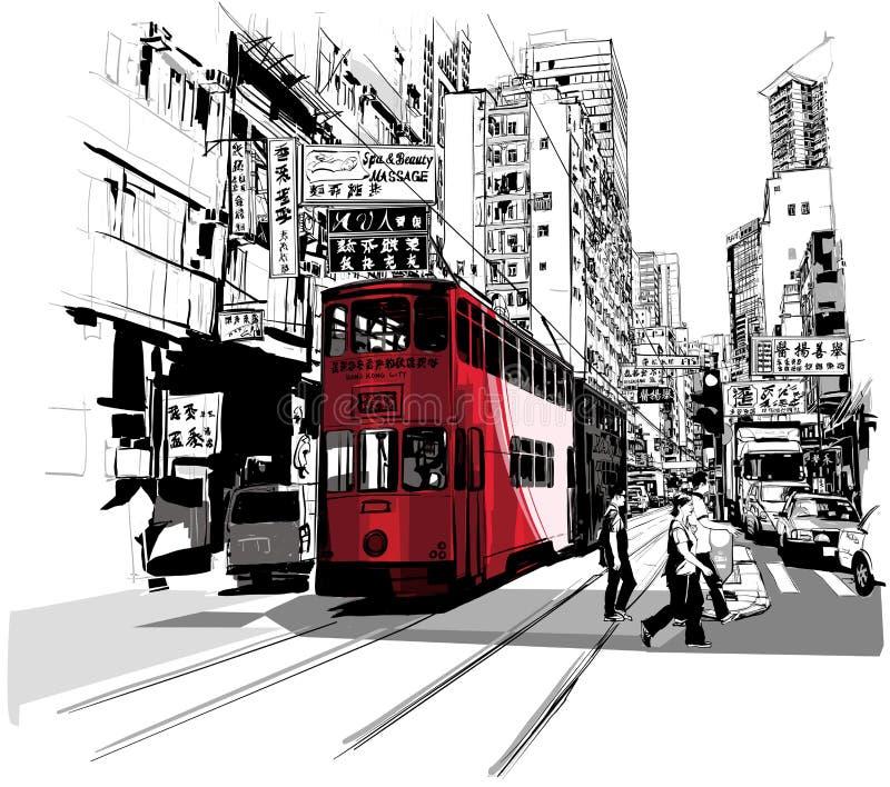 街道在香港 库存例证