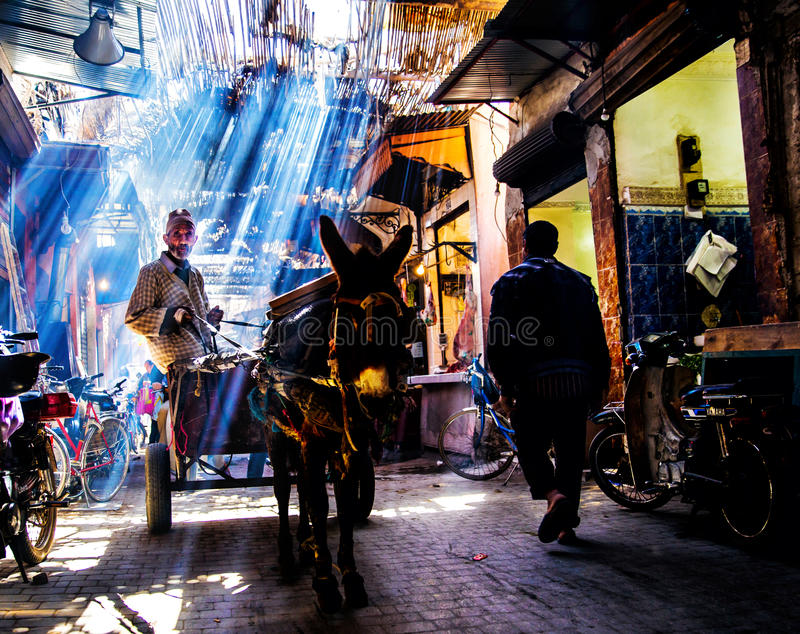 Download 街道在马拉喀什 编辑类图片. 图片 包括有 界面, souk, 闹事, 拥挤, 购物车, 游人, 驮马, 文化 - 61433240