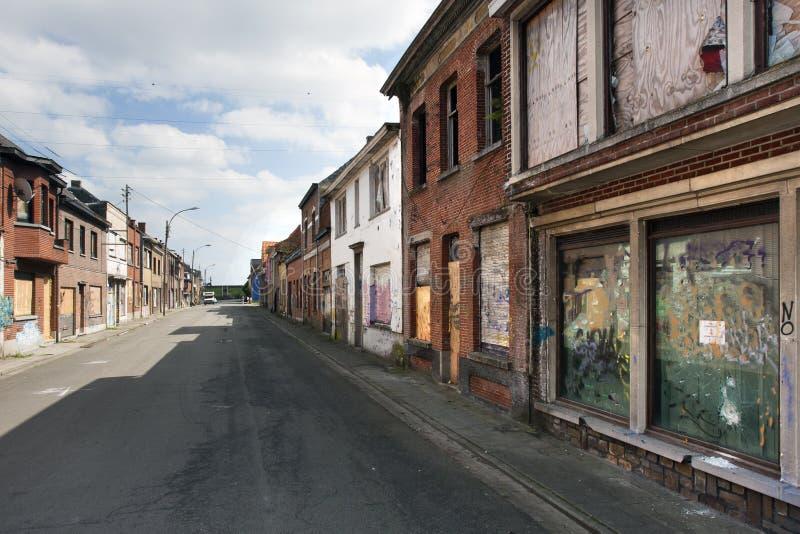 街道在鬼城在比利时 库存图片