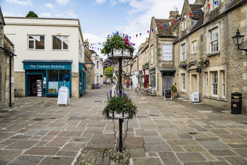 街道在Corsham英国,英国集镇  免版税库存照片