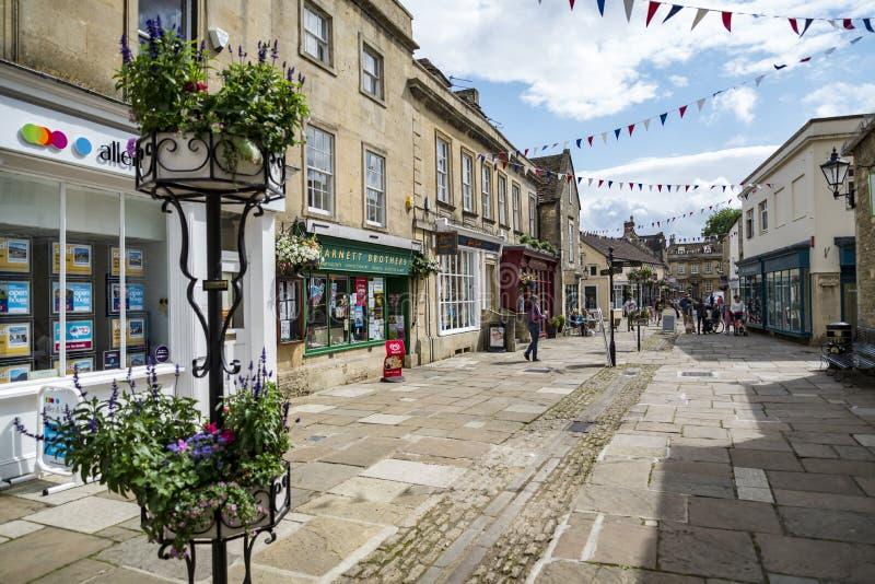 街道在Corsham英国,英国集镇  库存照片