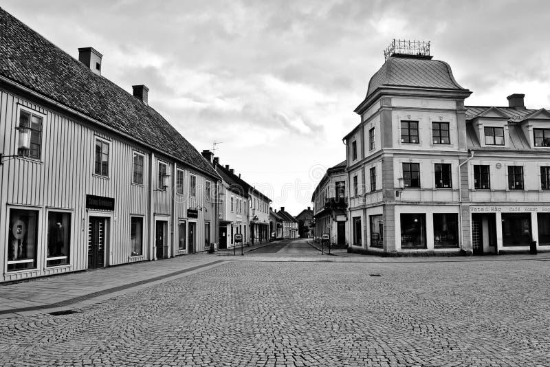 街道在Hjo在瑞典 免版税库存照片