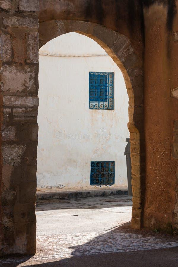 街道在Kasbah de Oudaias,拉巴特,摩洛哥 库存照片