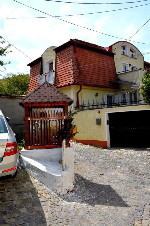 街道在Schei (镇布拉索夫),特兰西瓦尼亚 库存照片