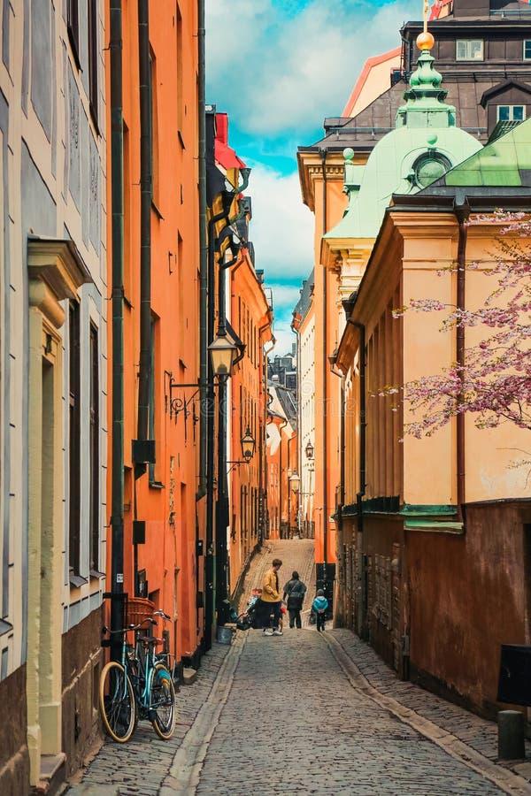 街道在stan的Gamla,斯德哥尔摩,瑞典 免版税库存照片