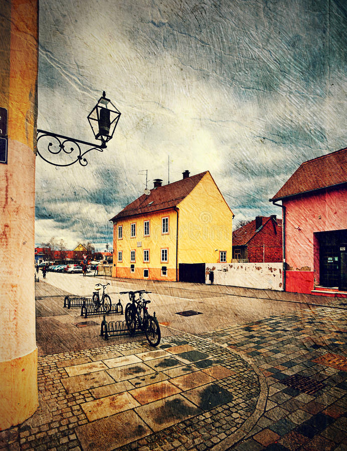 街道在Varazdin。克罗地亚。 皇族释放例证