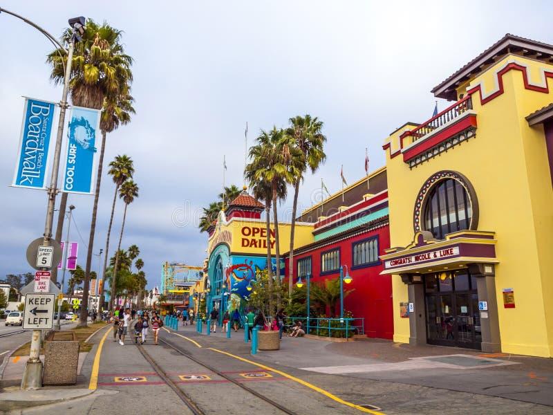 街道场面在圣克鲁斯在加利福尼亚 库存图片