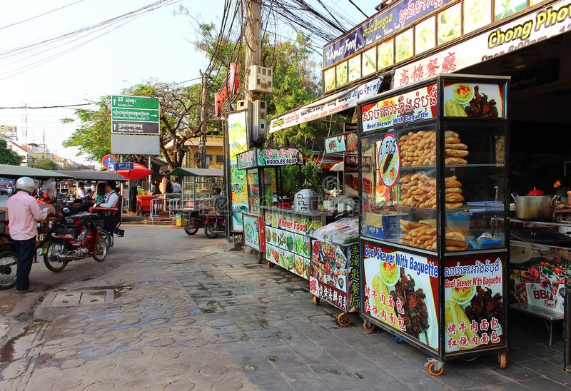 街道场面在暹粒市  免版税库存照片