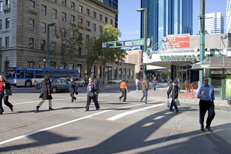街道场面,埃德蒙顿,加拿大 免版税库存图片