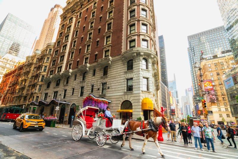 街道场面,曼哈顿中城 E 运输、马和支架 库存图片