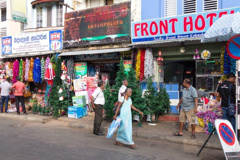 街道场面,Pettah区,科伦坡 图库摄影