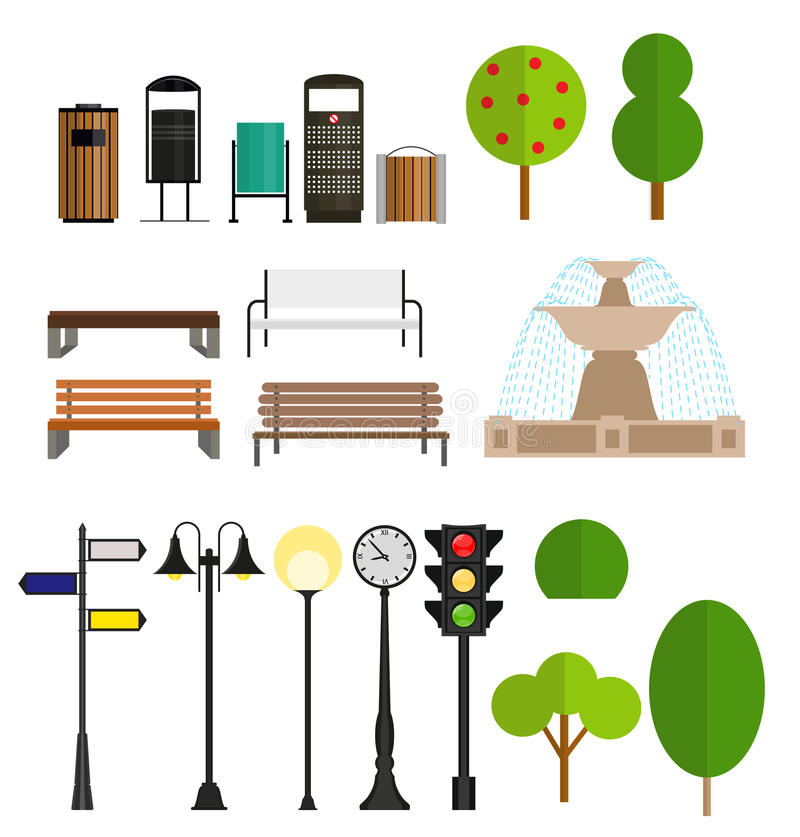 街道城市平的设计元素 向量 库存例证