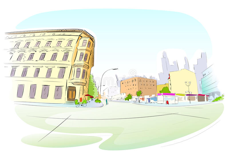 街道城市手凹道剪影五颜六色的大厦 库存例证
