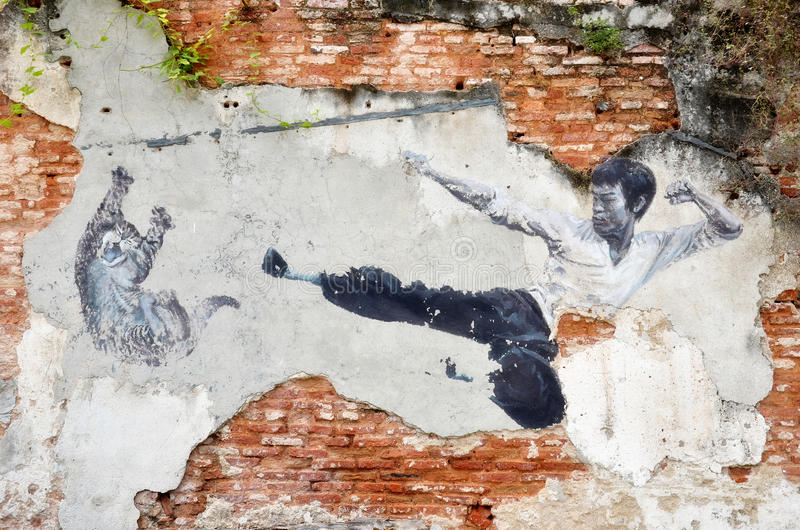 街道壁画的绘画'真正的李小龙会Ne 库存例证