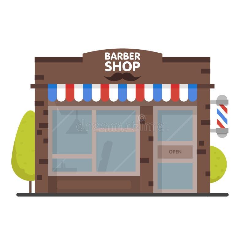 街道大厦门面理发店 设计横幅或小册子的前面商店 也corel凹道例证向量 向量例证