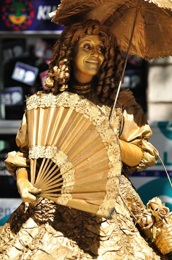 街道女演员。 巴塞罗那。 免版税库存照片