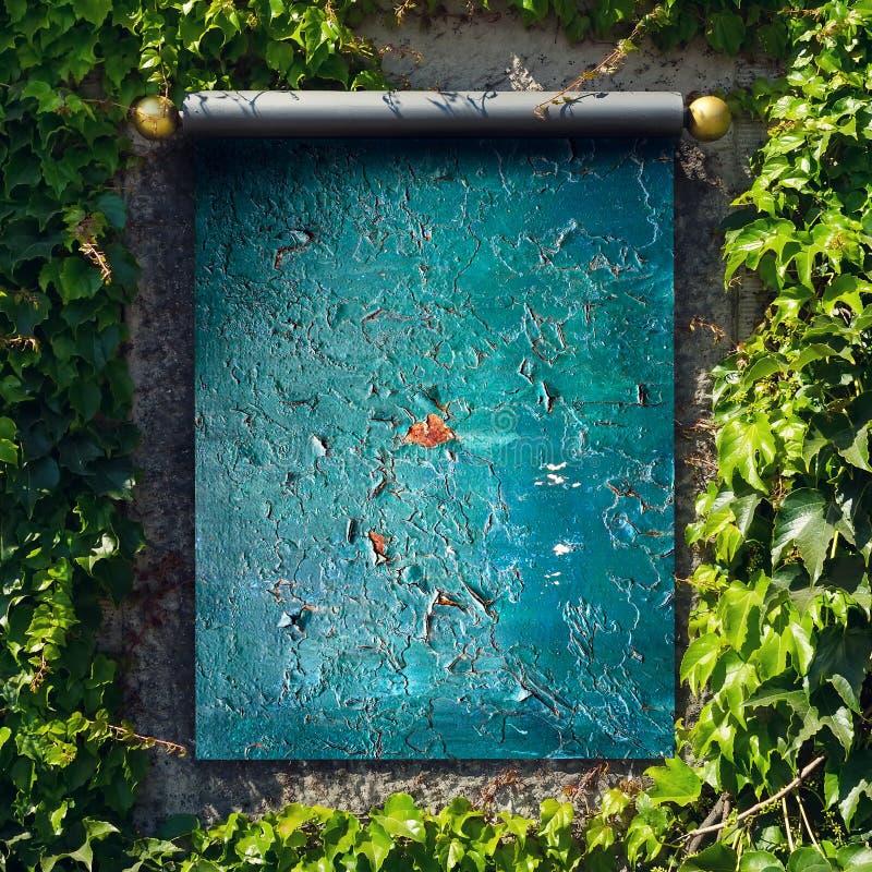 街道广告设计的嘲笑在绿色叶子中的墙壁上 复制空间 库存照片