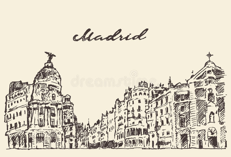 街道手拉马德里西班牙的例证 库存例证