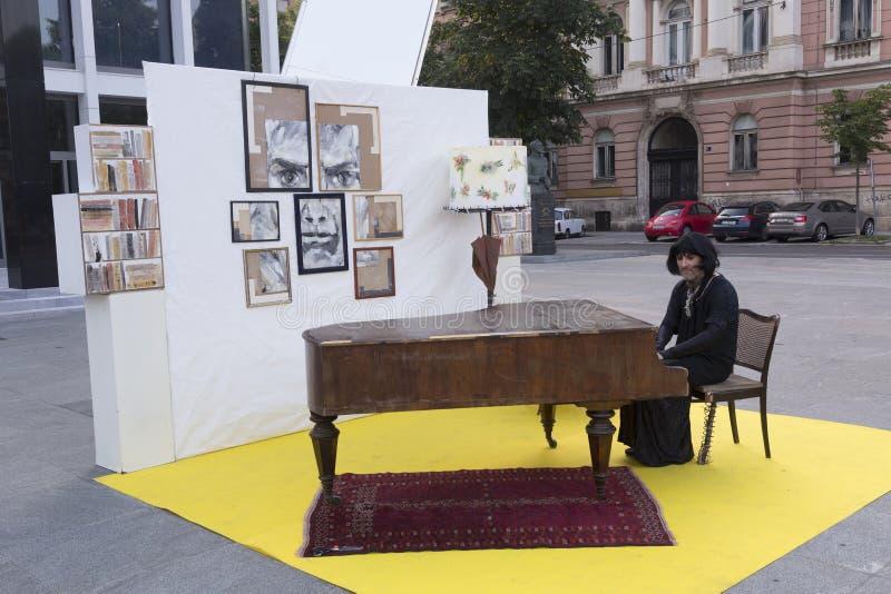 街道执行者在萨格勒布 免版税库存照片