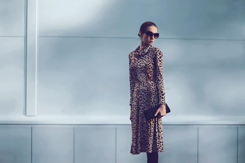 街道时尚概念-相当豹子礼服的端庄的妇女 免版税库存照片