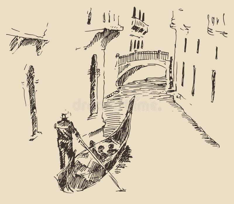街道有被刻记的长平底船葡萄酒的威尼斯意大利 皇族释放例证
