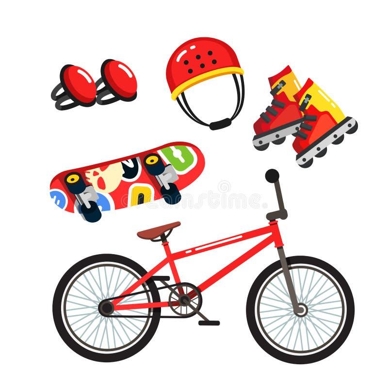 街道极端体育适应集合,自行车,冰鞋 库存例证