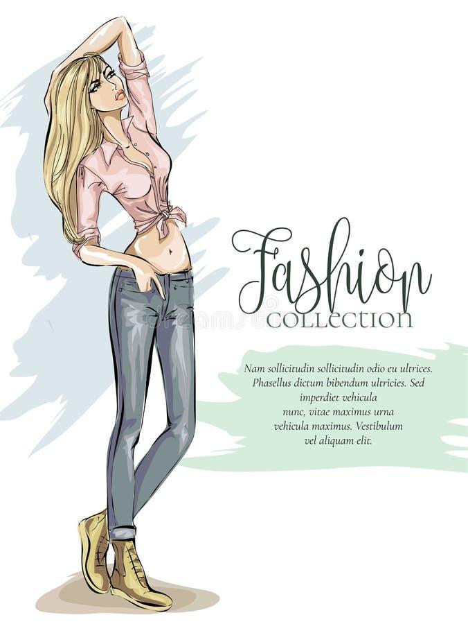 街道样式时尚女孩与商标和文本模板, beaty妇女模型剪影手拉的例证的广告横幅 库存例证