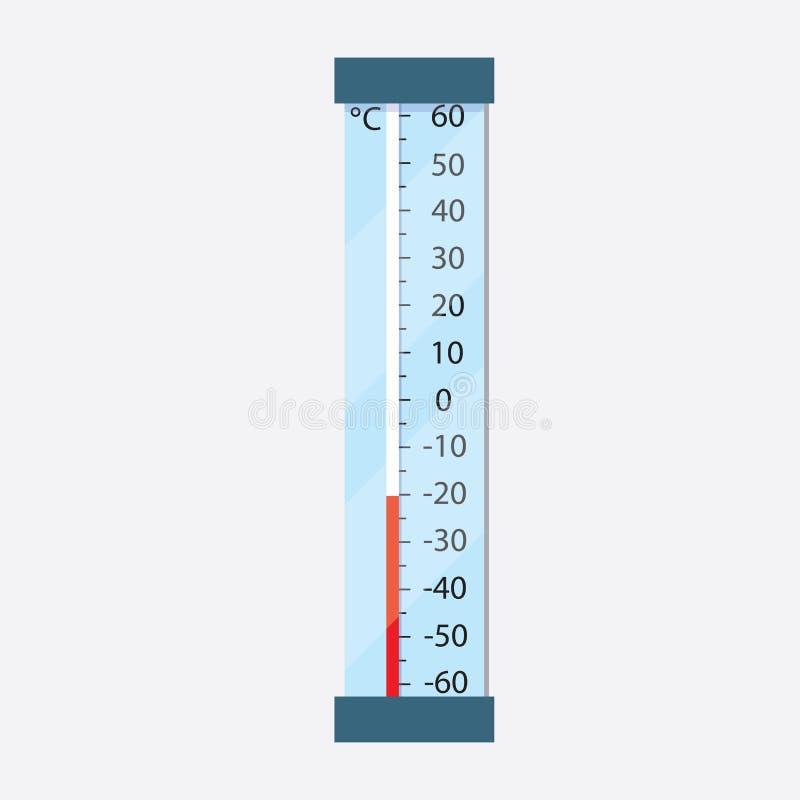 街道温度计显示减温度在摄氏 霜 向量例证