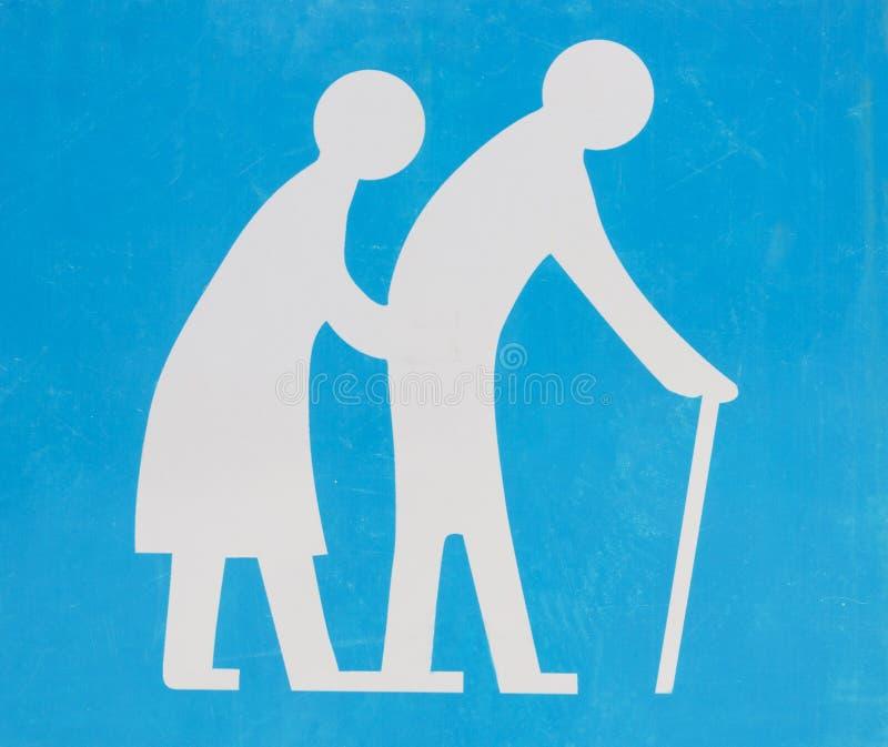 街道牌-老人横渡的路 免版税库存照片