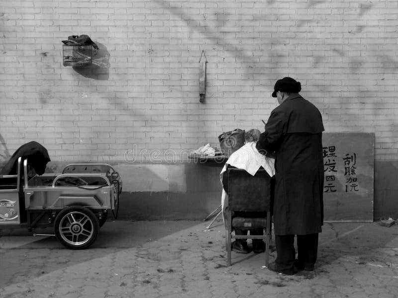 街道理发师 库存照片
