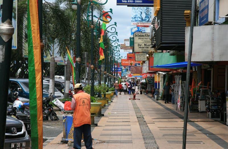 街道生活在北干巴鲁印度尼西亚 免版税图库摄影