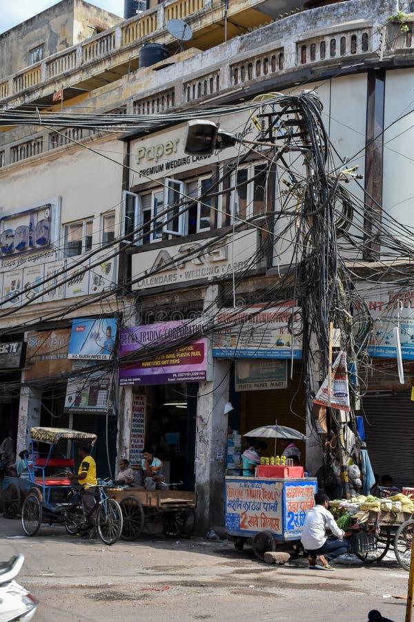 街道生活在老德里,印度 库存图片