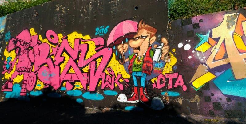 街道画墙壁在那不勒斯 免版税图库摄影