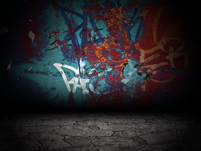 街道画墙壁室内部舞台背景纹理 皇族释放例证