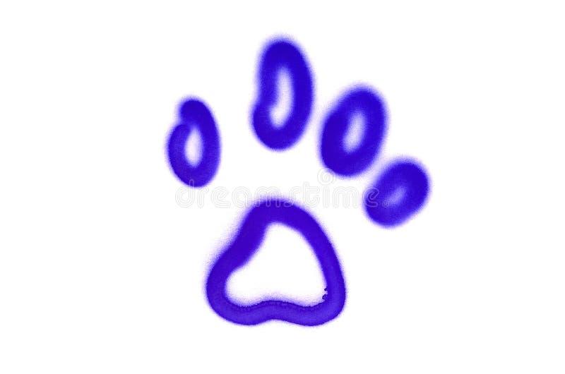 街道画宠物的爪子标志在白色被隔绝的背景喷洒了 库存图片