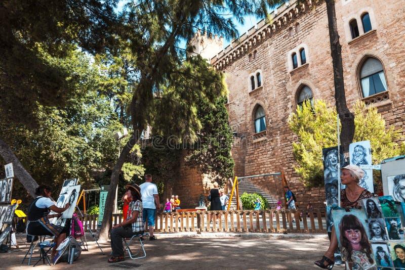街道画家在Mallorca 图库摄影片