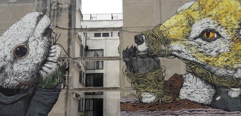 街道画街道在波哥大与关于拉美解放战斗的左派党总统关连  库存图片