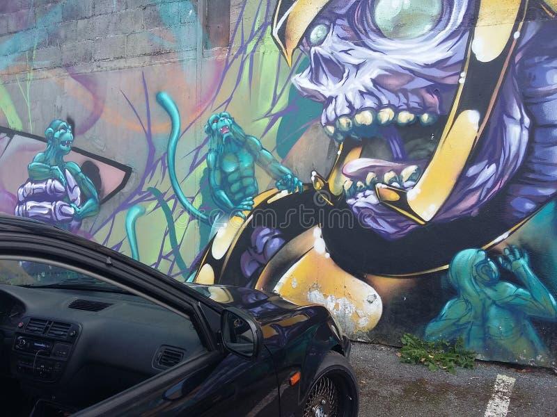街道画samourai squeletton汽车 库存图片